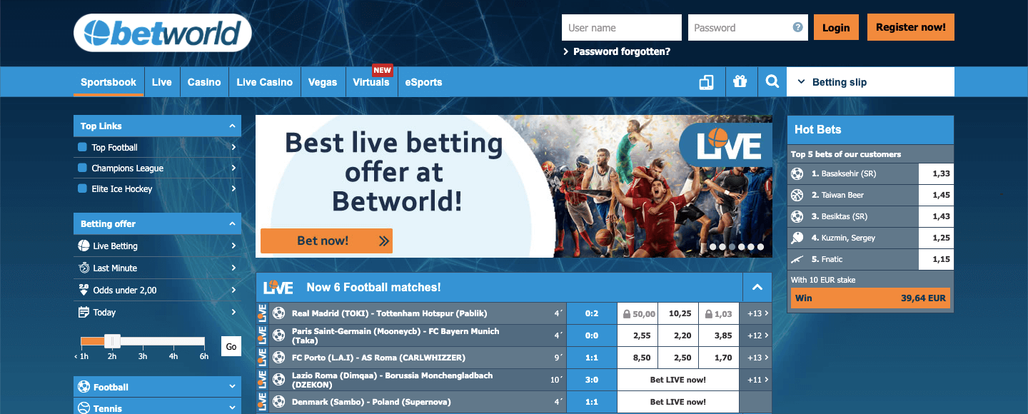 Betworld homepage