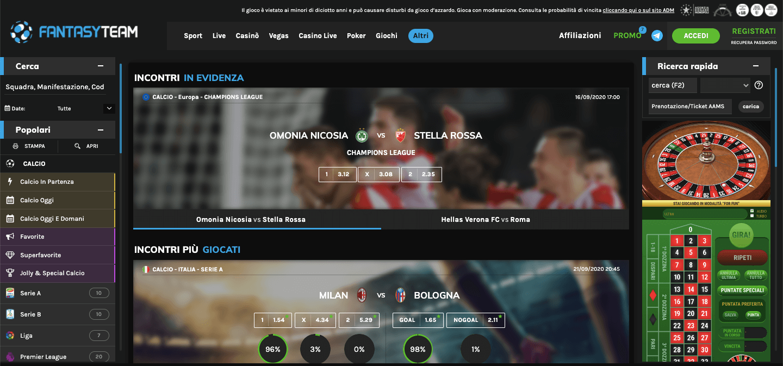 Fantasy Team homepage