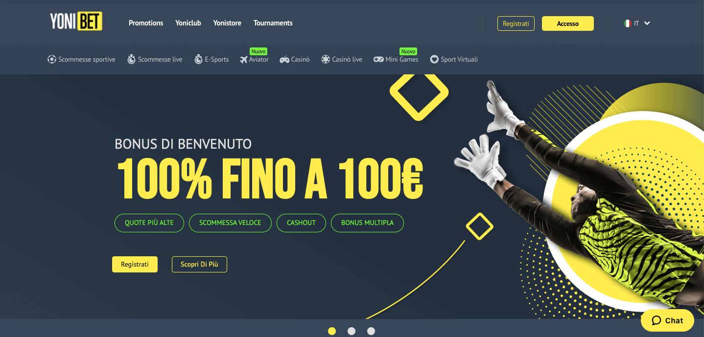 Yonibet homepage